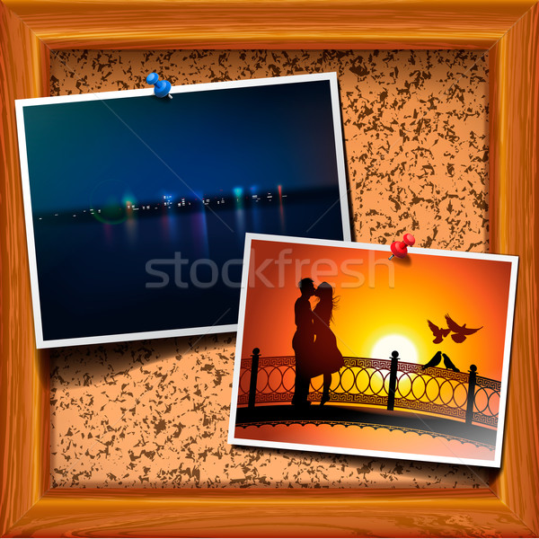 Cork bulletin board with postcard Stock photo © ikopylov