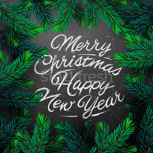 Tanne Zweig Weihnachten Vorlage Plakat Vektor Grafiken