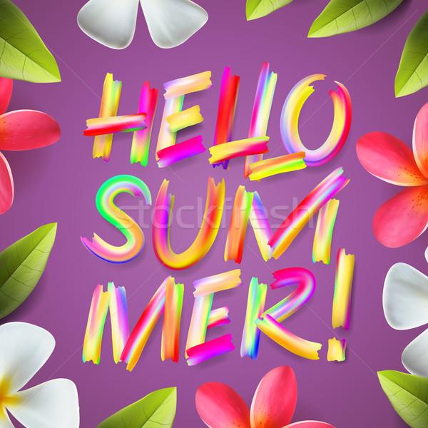Hello nyári szabadság színes sablon virágmintás virág Stock fotó © ikopylov