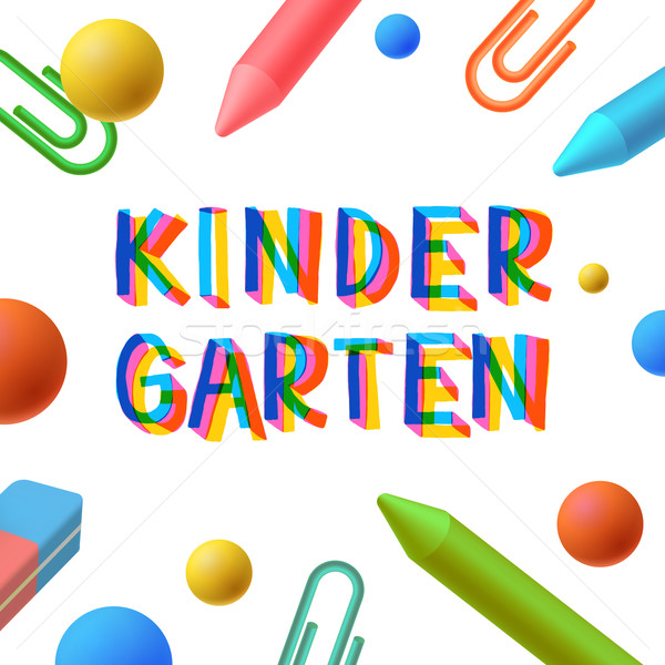 Kindergarten, preschool template, learning and study concept, play and learn, vector illustration. Stock photo © ikopylov