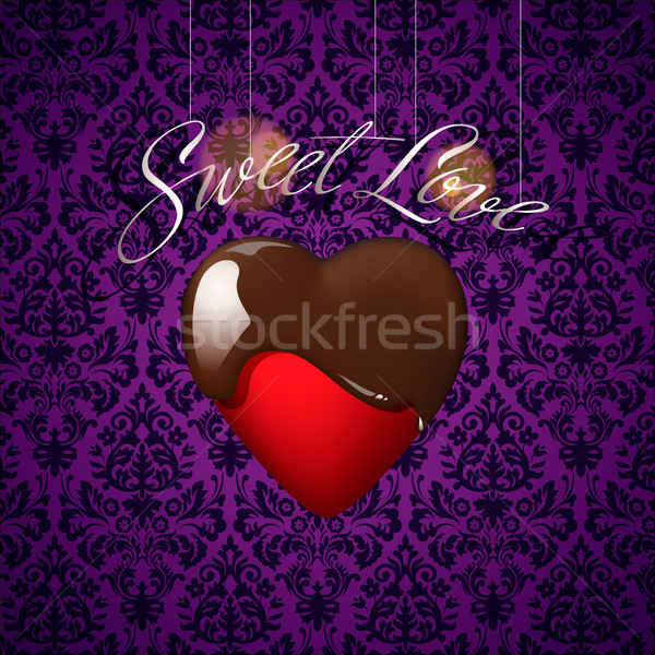 Heart with melted chocolate on floral ornament Stock photo © ikopylov