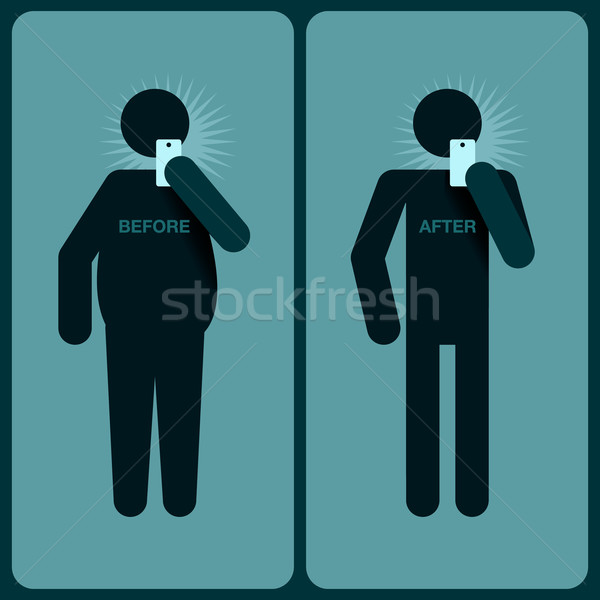 Before and after a diet, silhouette of man Stock photo © ikopylov