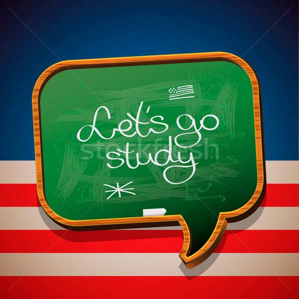 Let's go study - handwritten on blackboard Stock photo © ikopylov