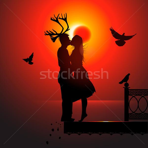 мужчин вектора eps10 иллюстрация любви птиц Сток-фото © ikopylov