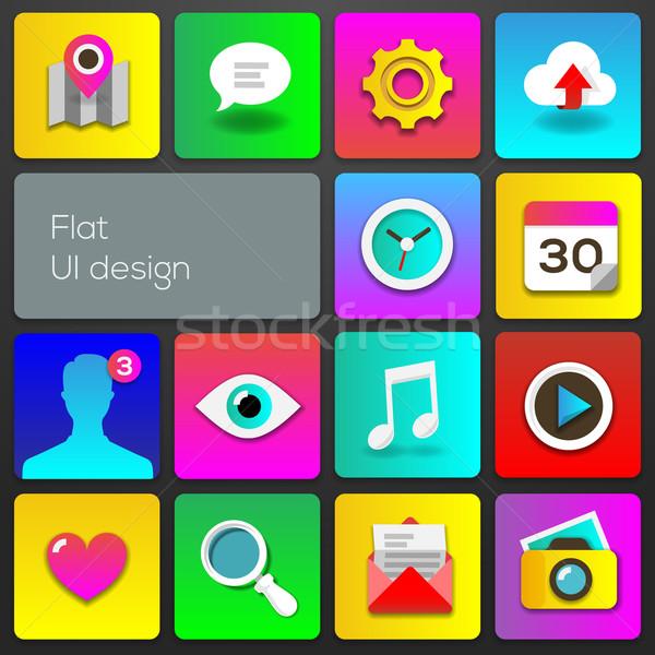 Ui diseno tendencia establecer iconos Foto stock © ikopylov