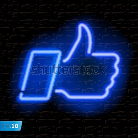 Neon Thumbs Up symbol on brick wall background Stock photo © ikopylov