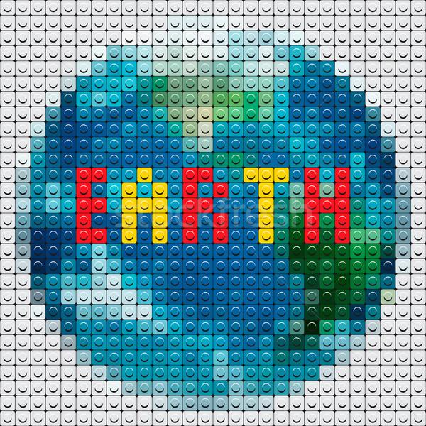 Dünya gezegeni mozaik vektör eps10 görüntü Stok fotoğraf © ikopylov