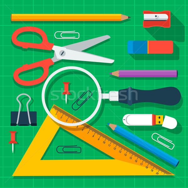 Coloré fournitures scolaires design vecteur eps10 illustration Photo stock © ikopylov
