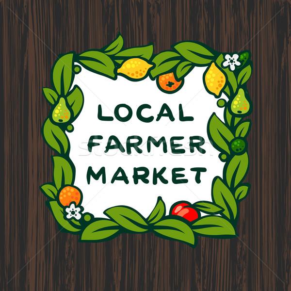 местный фермер рынке фермы дизайн логотипа дерево Сток-фото © ikopylov