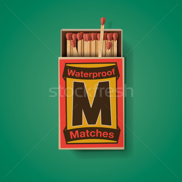 Matchbox and matches, top view Stock photo © ikopylov