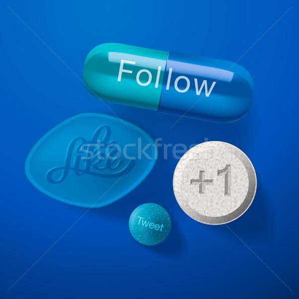 зависимость таблетки капсулы изолированный синий Сток-фото © ikopylov