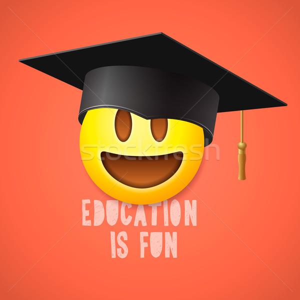 Educación diversión emoticon riendo sonrisa símbolo Foto stock © ikopylov