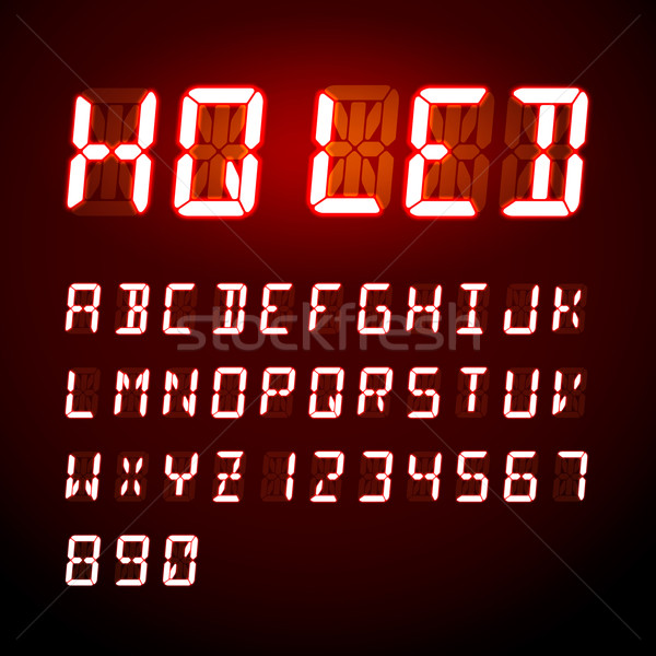 LED digital alphabet on black background, vector illustration Stock photo © ikopylov