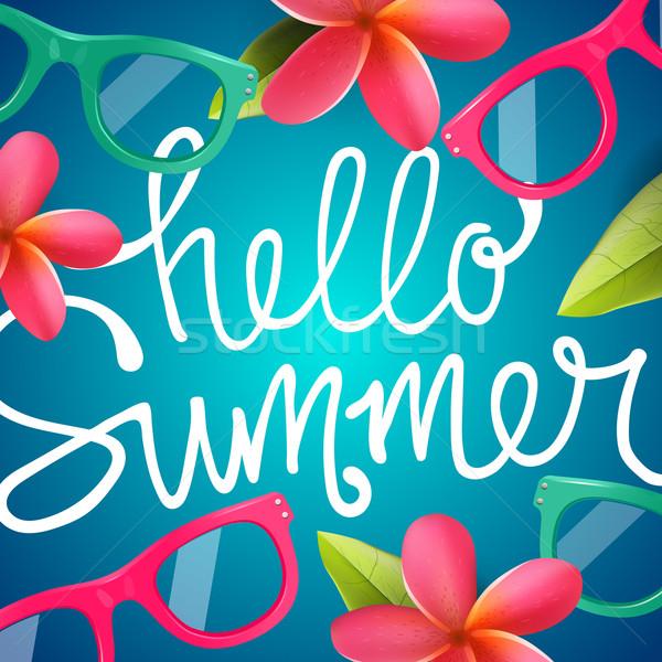 Ciao estate colorato tropicali fiori fiore Foto d'archivio © ikopylov