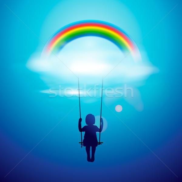 девочку Swing радуга облака вектора прибыль на акцию Сток-фото © ikopylov