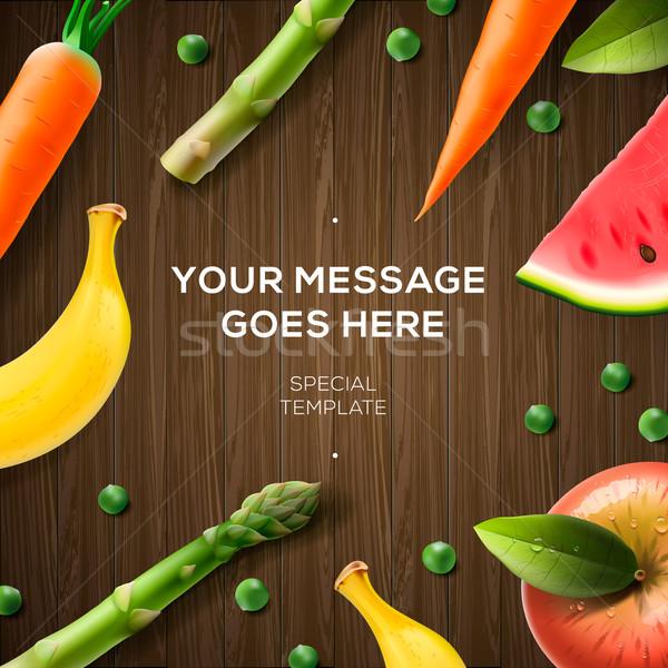 Sebze meyve tablo vegan gıda Stok fotoğraf © ikopylov