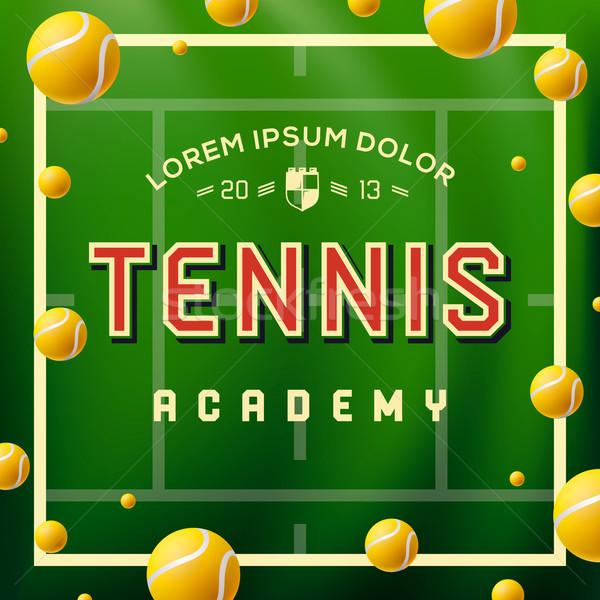Tenis akademi dizayn yeşil çim okul Stok fotoğraf © ikopylov
