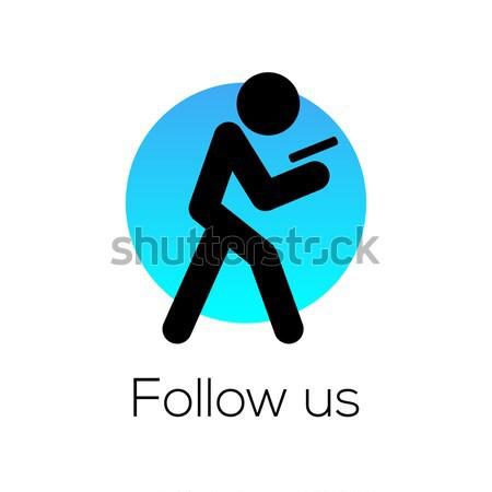 Signe médias sociaux communauté ordinateur hommes web Photo stock © ikopylov