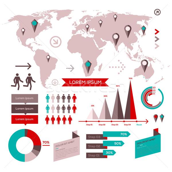 セット インフォグラフィック 要素 世界地図 情報 グラフィックス ストックフォト © ikopylov