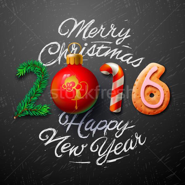 Vrolijk christmas 2016 wenskaart gelukkig nieuwjaar ontwerp Stockfoto © ikopylov