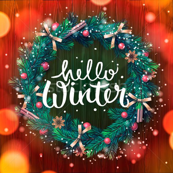 Natal coroa olá inverno árvore projeto Foto stock © ikopylov