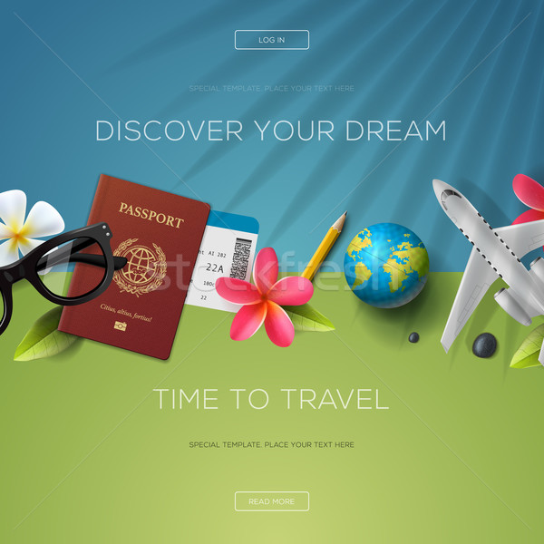 Discover your dream, time to travel, website template, vector illustration. Stock photo © ikopylov
