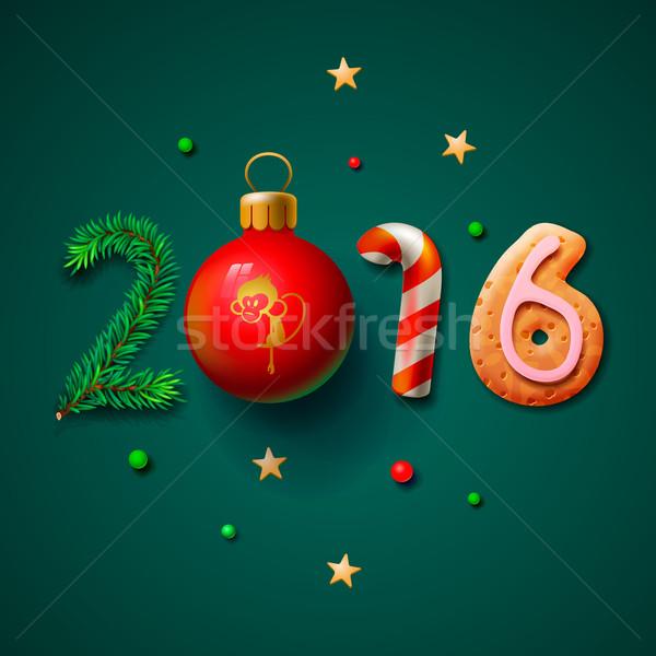 Joyeux Noël 2016 carte de vœux happy new year design Photo stock © ikopylov