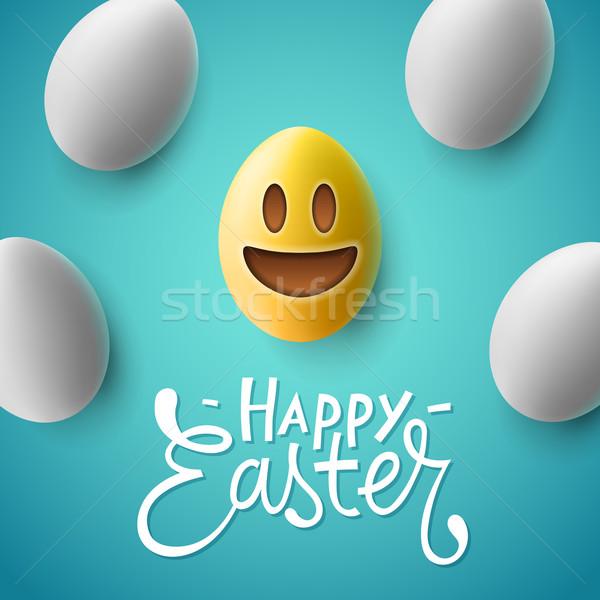 Kellemes húsvétot húsvéti tojások mosolyog arc aranyos húsvét Stock fotó © ikopylov