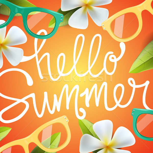 Hello summer background with tropical flowers  Stock photo © ikopylov