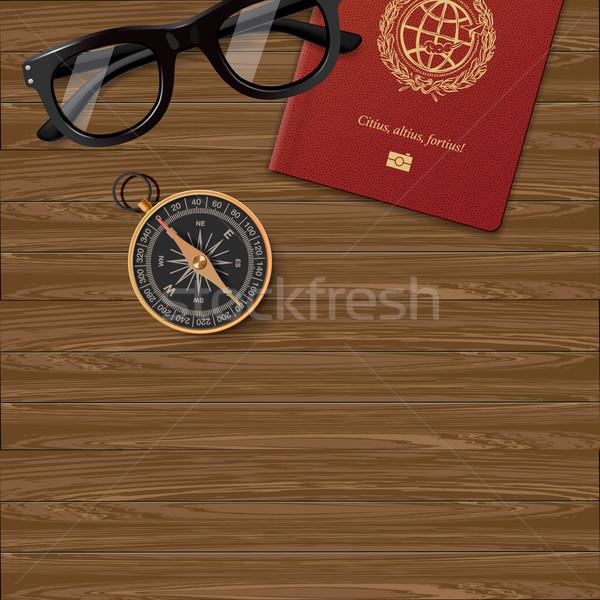 Plan viaje pasaporte brújula gafas madera Foto stock © ikopylov