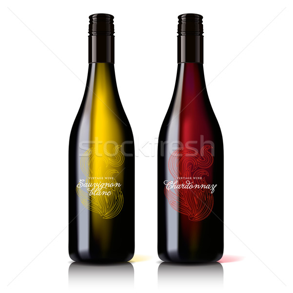 Classic, attractive bottle of wine red and white. Stock photo © ikopylov