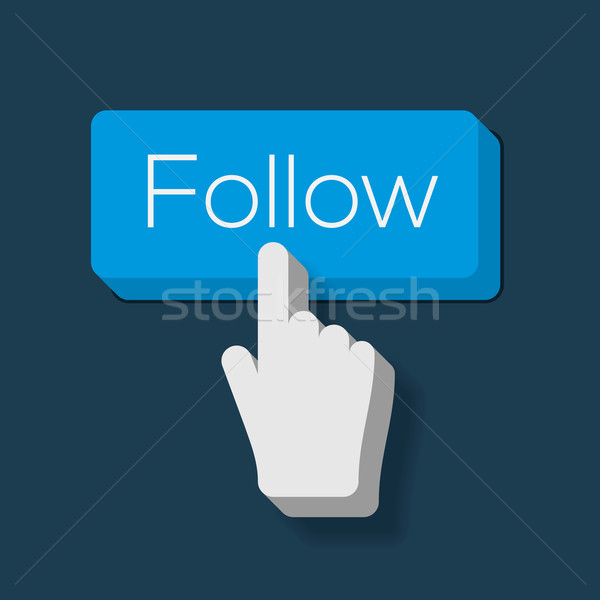 Follow Me Button with Hand Shaped Cursor Stock photo © ikopylov
