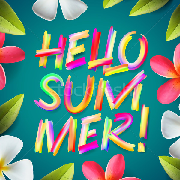 Hello Summer, typographic design on a tropical floral background, vector illustration. Stock photo © ikopylov