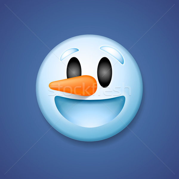 Snowman emoticon laughing, holiday emoji smile Stock photo © ikopylov