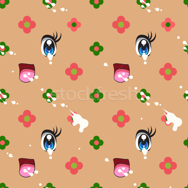 Abstract seamless pattern of cute kawaii style Stock photo © ikopylov
