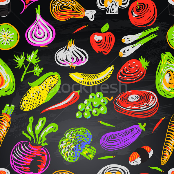 Stock photo: Seamless pattern with vegetables and fruits on black background