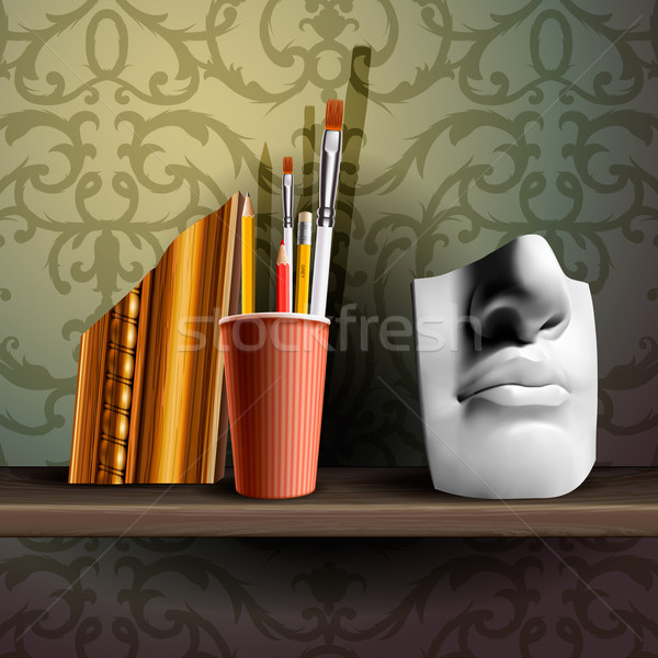 Davids nose and different art brushes on the shelf Stock photo © ikopylov