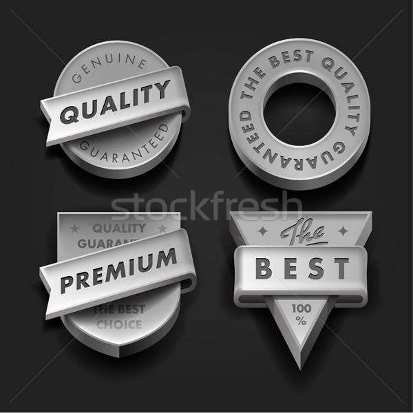 Set premium quality and guarantee labels three-dimensional Stock photo © ikopylov
