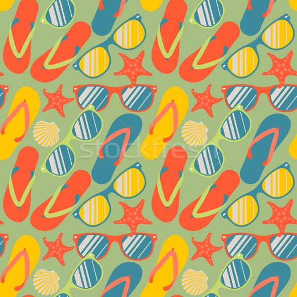 Végtelen minta papucs napszemüveg tengeri csillag színes vektor Stock fotó © ikopylov