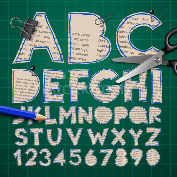 Alphabet and numbers, paper craft design, cut out by scissors from newspaper Stock photo © ikopylov