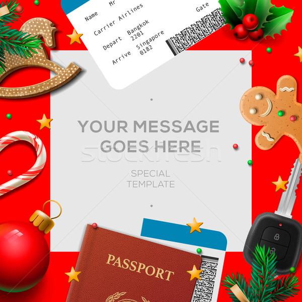 Vidám karácsony kívánság lista levél mikulás Stock fotó © ikopylov
