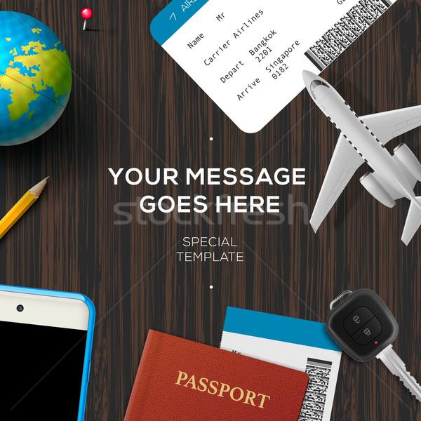 Desktop reizen vliegtuig model smartphone Stockfoto © ikopylov