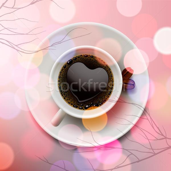 Beyaz kahve fincanı kalp şekli köpük pembe bulanıklık Stok fotoğraf © ikopylov