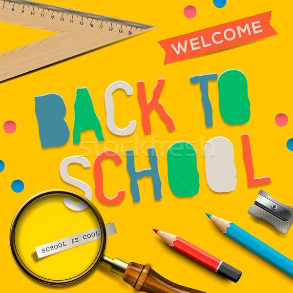 Welcome back to school on yellow background Stock photo © ikopylov