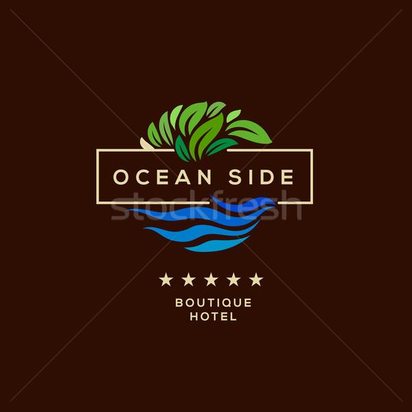 Logo hotel océano lado Resort Foto stock © ikopylov
