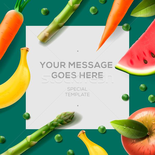 Bioélelmiszer szalag friss zöldségek gyümölcsök copy space szöveg Stock fotó © ikopylov