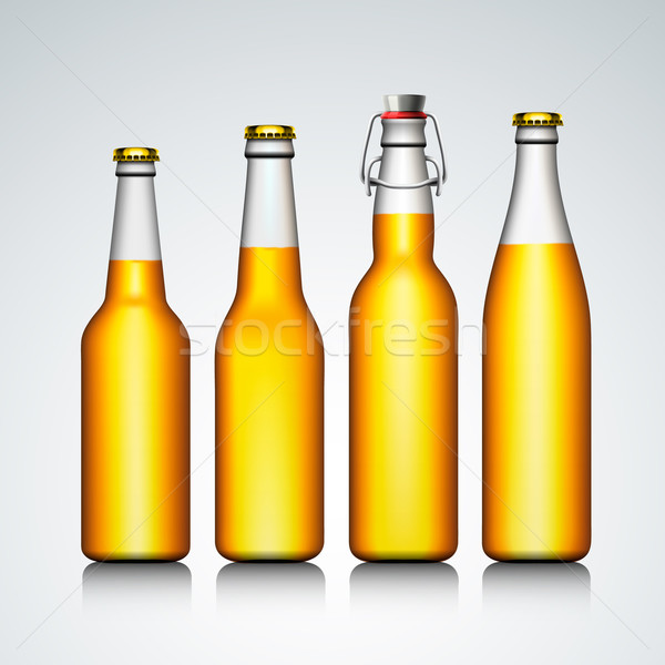Beer bottle clear set with no label Stock photo © ikopylov