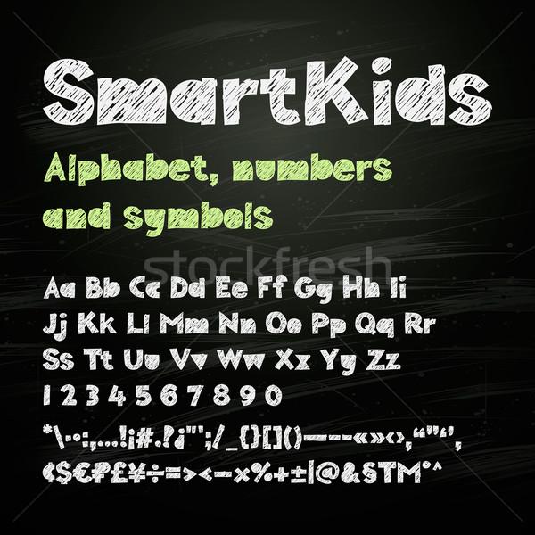 Giz mão desenho alfabeto números símbolos Foto stock © ikopylov