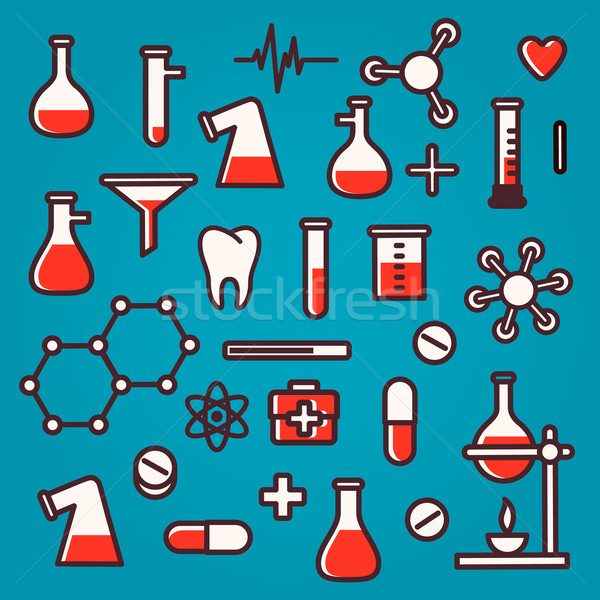 Background of scientific icons with reflection Stock photo © ikopylov