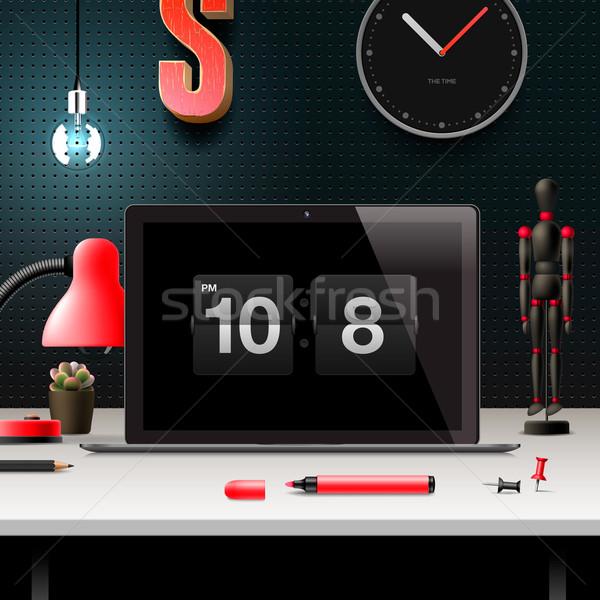 Moderne ontwerp kantoor werkruimte home laptop Stockfoto © ikopylov